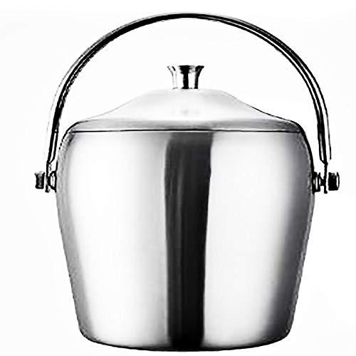 Accesorios para barra Cubo de hielo espesado de doble capa con tapa y asa Cubo de hielo Cubo de hielo en forma de tambor de acero inoxidable con abrazadera para hielo Juego(Size:5.5×8.7in,Color:METRO)