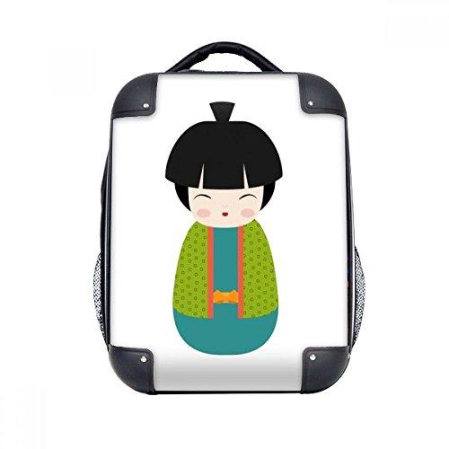DIYthinker Grüne Kimono-Puppe Kunst Japan Hard Case Schulter Kinder Rucksack Geschenk 15