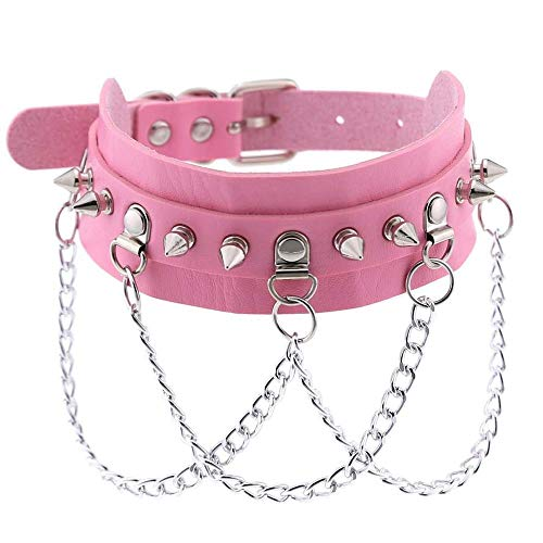 TONGDAUR PU Leather Choker Collar Goth Punk Chain Harajuku Collar Sexy Vegan Chocker Bondage Festival Jewelry (Metal Color : Pink, Size : Free)