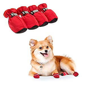 BINGPET Dog Shoes Waterproof Dog Boots, Paw Protectors with Reflective and Adjustable Straps, Anti-Slip for Indoor & Outdoor Wear