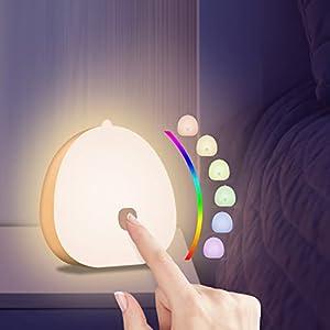 YIFACOOM Luz Nocturna Infantil, Luz Nocturna Bebé LED Recargable USB-C, Lámpara de Noche Control Táctil Cambiando Color RGB, Nocturna Lactancia Materna con Brillo Ajustable, para Escalera, Dormitorio