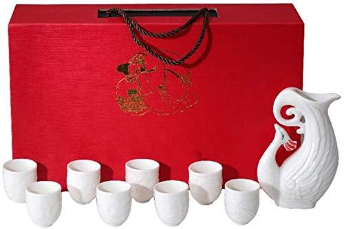 JJDSN Juego de Sake japonés Tradicional 9 Piezas para Servir 8 Copas de Vino 1 Botella de Vino Adecuado para Sake frío/Tibio/Caliente/Shochu/té 2113