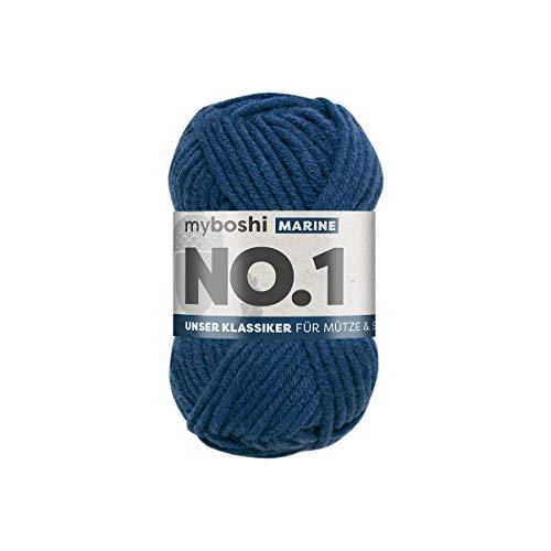 myboshi No.1-Wolle zum Häkeln und Stricken, mit Merinowolle, hochwertiges Schnellstrickgarn, Pflegeleichte, langlebige Mützenwolle, Mulesing-frei, 1 knl x 50gr, Ll 55m Marine