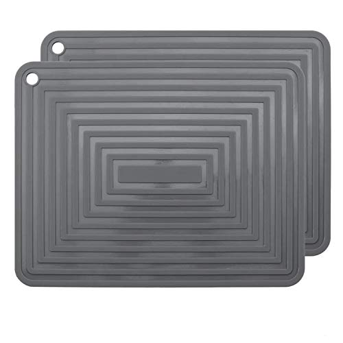 2 Pack Large Silicone Trivet Mats,Heatproof Hot Pads Pot Holder,9'x12' Non Slip Flexible Durable Heat Resistant Pot Coaster Kitchen Countertop Table Mats (Dark Grey)