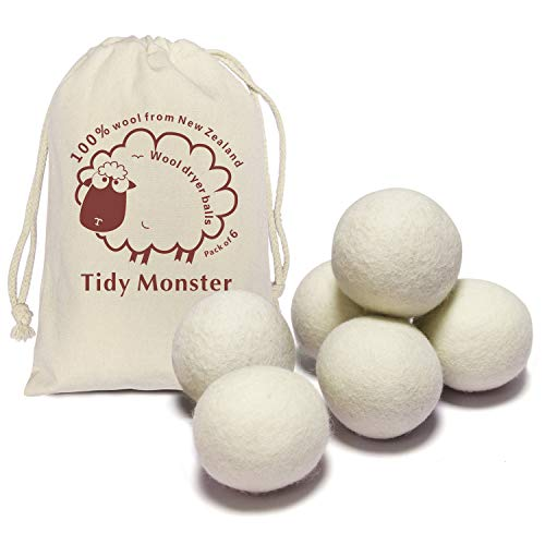 6 Pack All Natural Organic Wool Dryer Balls XL Size - Reusable Chemical Free Natural Fabric Softener, Anti Static, Reduces Clothing Wrinkles and Saves Drying Time