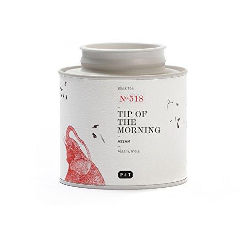 P & T Tip of the Morning, Pure Ganzblatt-Schwarzteemischung, Frühstückmischung aus indischen Assam und Ceylon Tee, Metalldose (80g / 2.8oz)