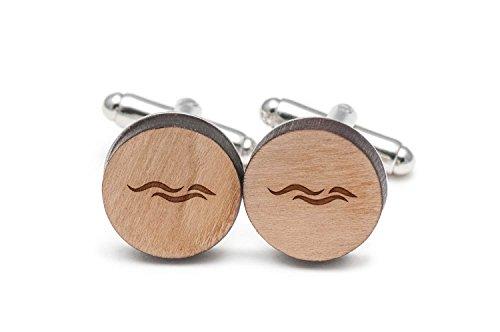 Wooden Accessories Company Ocean Wave Cufflinks, Wood Cufflinks Hand Made...