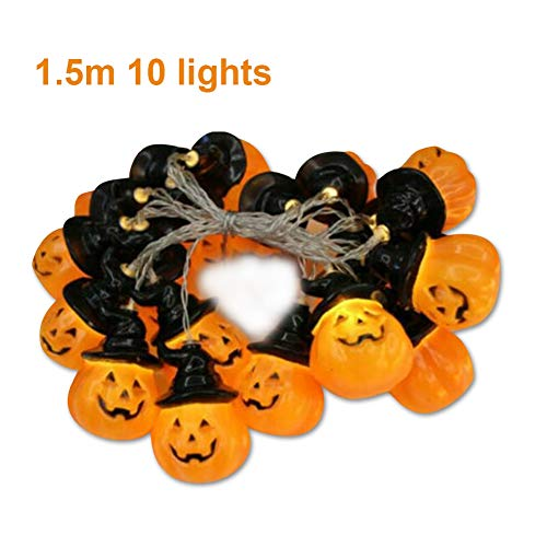 Hankyky Halloween Dekoration Lichter Halloween String Lights Batterie betrieben Fee Lichter mit Kürbis Hexe Hut für Indoor/Outdoor Halloween,