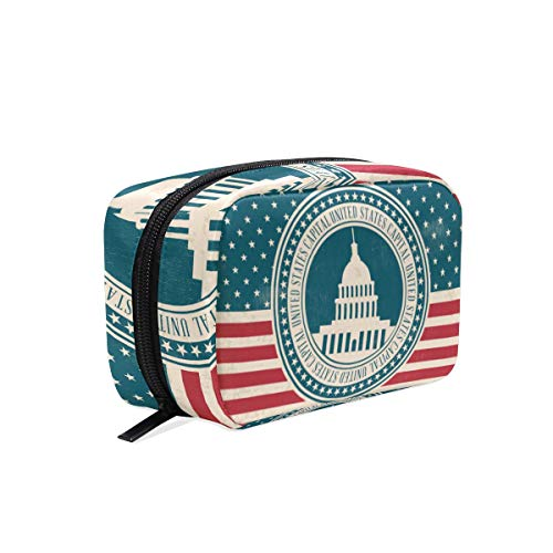 DEZIRO Vintage Style US Capital make-up tas voor vrouwen