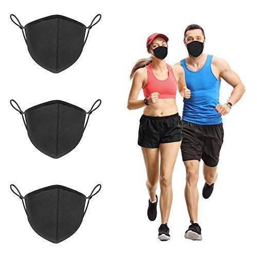 3 Layer Unisex Cloth Face Protective Shields Reusable, Teen & Adult Adjustable Black Cotton Bandana, Washable Breathable Guard Dust Warm Mouth Wraps for Women Men (3 Pack, Large)