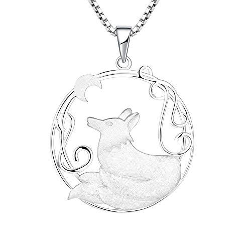 YL Kette Wolf Damen Halskette 925 Sterling Silber filigrane Mond Anhänger Damen Schmuck