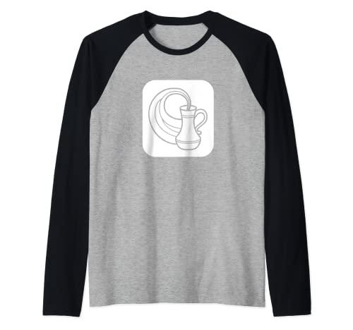 Símbolo de astrología de jarra de agua Acuario Camiseta Manga Raglan