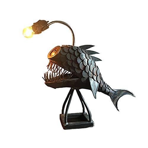 Angler Luz de tiburón, LED hecho a mano, iluminación única, escritorio de oficina, dormitorio decoración