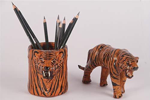 Handgefertigte Leder Tiger - Schwarz-Gelb mit Tiger-Büro-Schreibtisch-Organisator Stifthalter