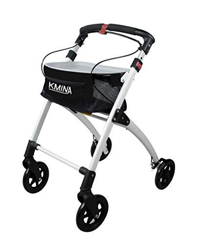 KMINA - Rollator faltbar und leicht, Rollator schmal für wohnung, Leichtgewichtrollator, Rollator leicht, Rollatoren leichtgewicht und faltbar, Indoor rollator KMINA PRO Schwarz