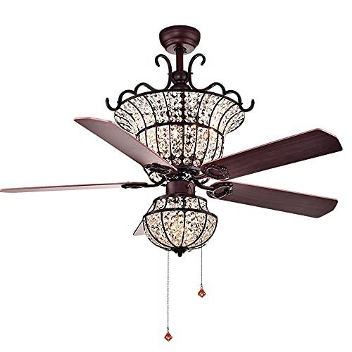 Lámpara de ventilador de cristal, Hierro forjado Restaurante decorativo Dormitorio Sala de estar LED Lámpara de ventilador de techo Mute inteligente