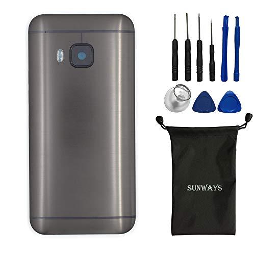 sunways Akku Case mit Rückkamera Glas Objektiv + Volume Button + Powerbutton Ersatz kompatibel mit HTC One M9 M9 One Hima, (Gunmetal Gray)