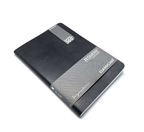 Zequenz Classic 360Weiche Gebundenes Tagebuch/Notizbuch schwarz Lite Large 71/Schreiben 38,1cm X 97/20,3cm 100Blatt/200Seiten liniert/liniert