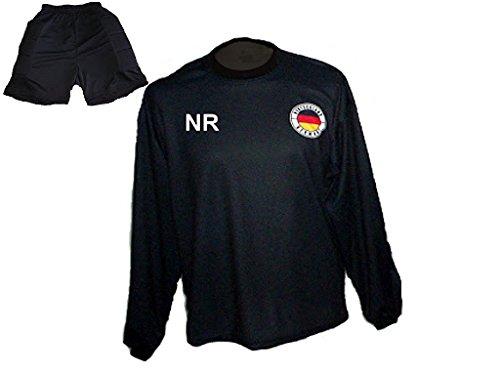 Spielfussballshop Deutschland Torwart Trikot gepolstert Kurze TW Hose mit Wunschname Nummer Kinder Größe 158