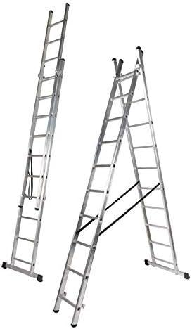 Escalera Dos Tramos de Aluminio, 3.5 + 3.5 m, 2 x 12 Peldaños (3.5+3.5 M). Escada Dupla Transformavel: Amazon.es: Bricolaje y herramientas