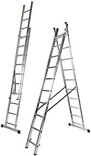Escalera Aluminio Doble, 2.5 + 2.5 m, 2 x 9 Peldaños.