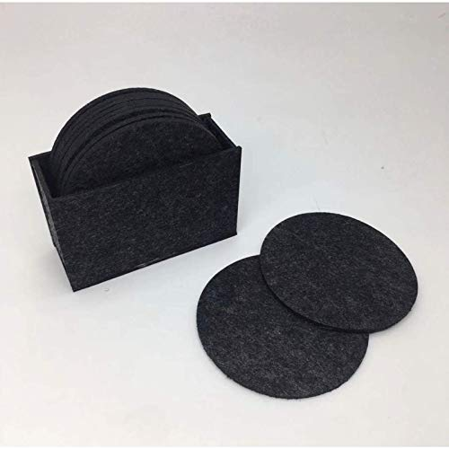 XGiGiX Black Drink Coasters Set of 10 Pack, Modern Felt Material, Absorbent Heat-Resistant Cup Coasters, Fits Any Size of Drinking Glasses, Protect table from Tea or Coffee Marks.