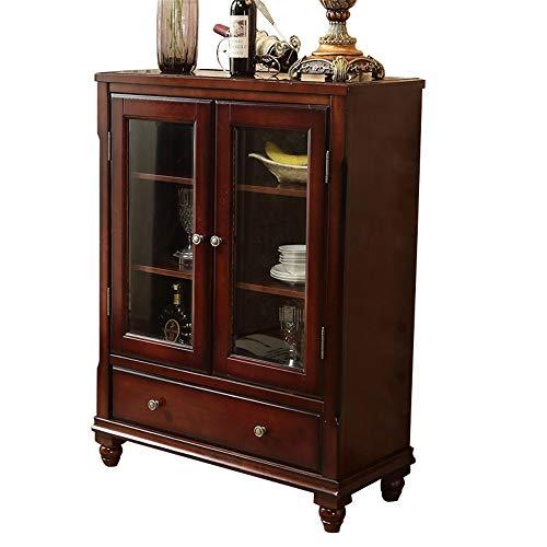 Aparadores Buffet de Madera Entrada Bar Gabinete Almacenamiento Cocina Aparador Aparador Acento Mesa de Acento para Sala de Estar (Color : Wine Red, Size : 90x40.7x119cm)