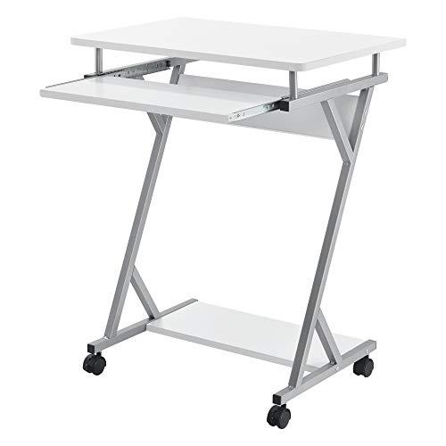 [en.casa] Rollbarer Computertisch 60x40x75cm Weiß PC-Tisch