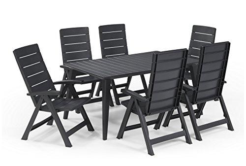 Keter - Set de mobiliario de jardín Lima/Brasilia (mesa + 6 sillas), color grafito