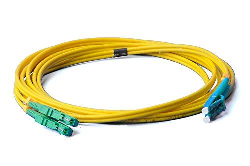 LWL Glasfaser-Kabel – 3m OS2 gelb, E2000/APC auf LC/UPC Stecker, Duplex 9/125 Patchkabel – Lichtwellenleiter 3 Meter