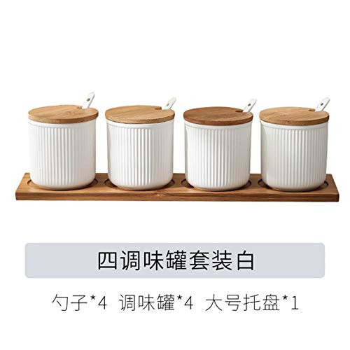 Keramische Specerijen Jar Huishoudelijke Kruiden Doos Houten Lade Kruidkruik Sojasaus Pot Zout Suiker Enkel Kan Keuken Kruiden Gereedschap, 4 stuks