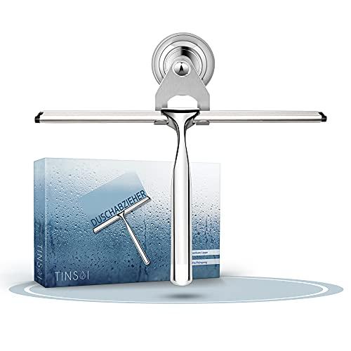 Tinsai | Premium Duschabzieher Edelstahl − 23cm mit Wandaufhänger ohne Bohren − Abzieher Dusche mit Ersatz Silikonlippe − Duschabzieher Silikon