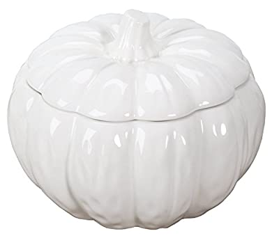 Ceramic Pumpkin Round Soup Bowl Container with Fitting Lid White