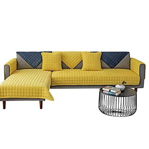 GE&YOBBY Einfarbig Plüsch Sofabezug,1 Stück Einfach Wildleder Überprüft Sofa-Protektor,Anti Slip Weich Cord Couch-Abdeckung Für Stoff Ledersofa Gelb 90x240cm