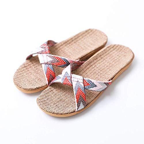 SSM Zapatillas de la Casa, Zapatillas para Mujer Claus Cross House Shoes, Zapatillas de Mute de Punta Abierta para Mujeres, Zapatillas en Interiores Y Al Aire Libre Soporte de, San
