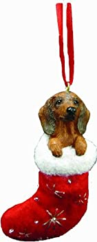 Dachshund Christmas Stocking Ornament with  Santa s Little Pals  Hand Painted and Stitched Detail