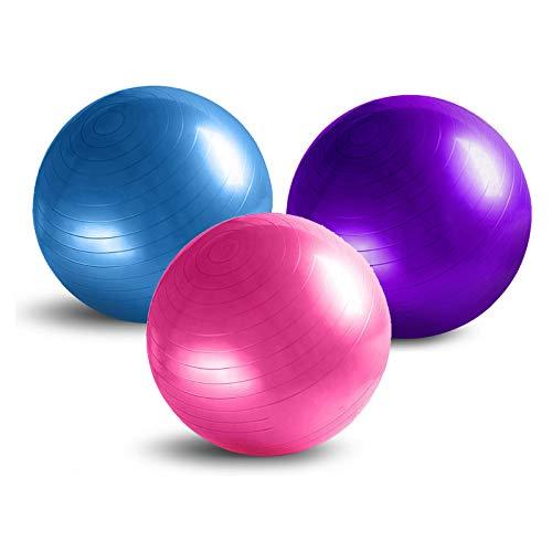 Pelota de ejercicio, Pelota de parto de PVC Pelota de yoga anti-estallido para gimnasio, Pelota suiza extra gruesa para yoga, Pilates, Fitness, Pelota de equilibrio de embarazo con bomba,Púrpura,65cm