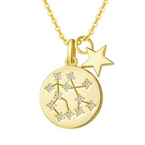 FANCIME Collar con Colgante de Signos del Zodiaco Géminis Horoscopo Collar para Mujer de Plata de Ley 925 Chapada Oro Amarillo y Circonita Cúbica - Longitud Cadena: 40 + 5 cm