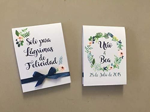 Lágrimas de Felicidad para Bodas con pañuelo de papel diseño en tonos azules y verdes