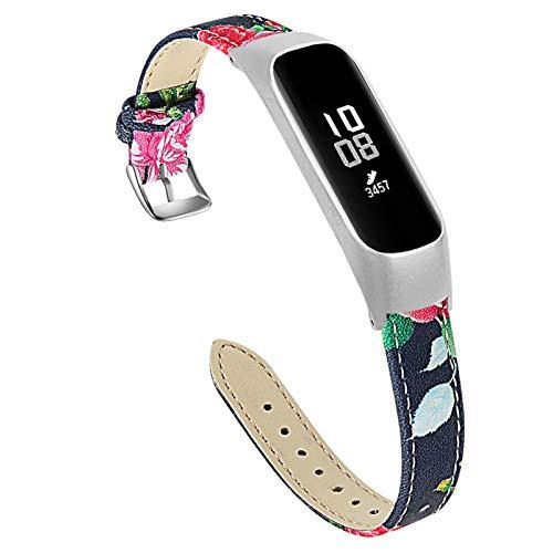Galaxy Fit E Sport Band, BFISOD 5.5'-8.0' (140mm-203mm) Correa de Reloj Ajustable Correa de Repuesto de Cuero Genuino Liviano Compatible con Samsung Galaxy Fit E SM-R375 (A)