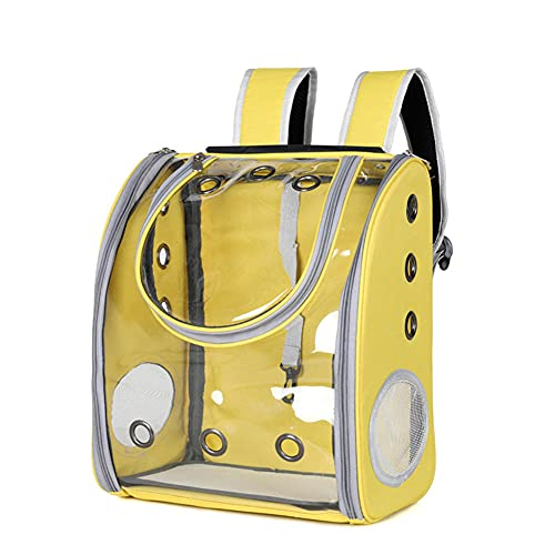 LLLucky Cat Backpack Carriers Bag, Dog Pet Bubble Puppies Airline-Approved Ventilate Travel Transparent Capsule Hiking Transport Bag Space Zipper Pocket Safety Outdoor Soft (303822cm)-Yellow