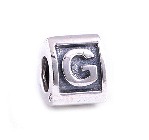 En argent sterling 925 Bloc Alphabet Lettre « G » pour bracelets type Pandora/Biagi/Chamilia et Trollbeads Bracelets