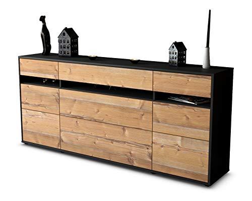 Stil.Zeit Sideboard Giada/Korpus anthrazit matt/Front Holz-Design Pinie (180x79x35cm) Push-to-Open Technik & Leichtlaufschienen