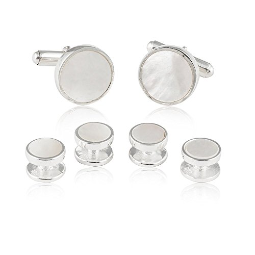 Mens Solid 925 Sterling Silver Mother of Pearl Tuxedo Cufflinks and Studs Formal Set with Presentation Box
