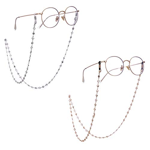 LIKGREAT - Cadena retro para gafas, 2 unidades, con cuentas de corazón, para mujer