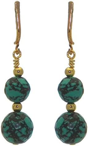 BLAISE DOUBLE gold plated turquoise clip on earrings