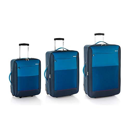Gabol Set de 3 Maletas Reims Cabina, Mediana y Grande en Polyester Color Azul