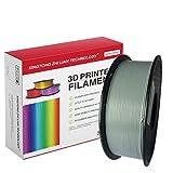 PLAフィラメント1.75mm、マーブルシルク透明メタリックPLAフィラメント、3Dプリンターおよび3Dペン用の3DプリントPLAフィラメント、寸法精度+/- 0.02mm、1kg 1スプール (銀)