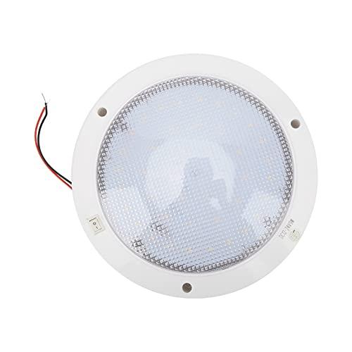 Panel de luz LED redondo, rendimiento estable, 12 V, 300 lm, Panel de luz LED de bajo consumo, 8,6 x 6,7 pulgadas con hebilla de tornillo para caravanas, yates, barcos, etc.(Blanco cálido)