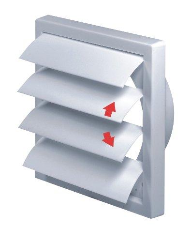 Awenta Lüftungsgitter mit beweglichen Lamellen Jalousie Abschlussgitter Rückstauklappe Verschlussklappe weiß Ø 125 mm TN4